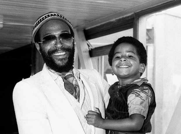 Marvin Gaye with son Frankie in 1980