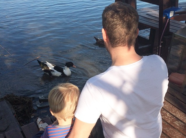 Michael Buble feeding ducks
