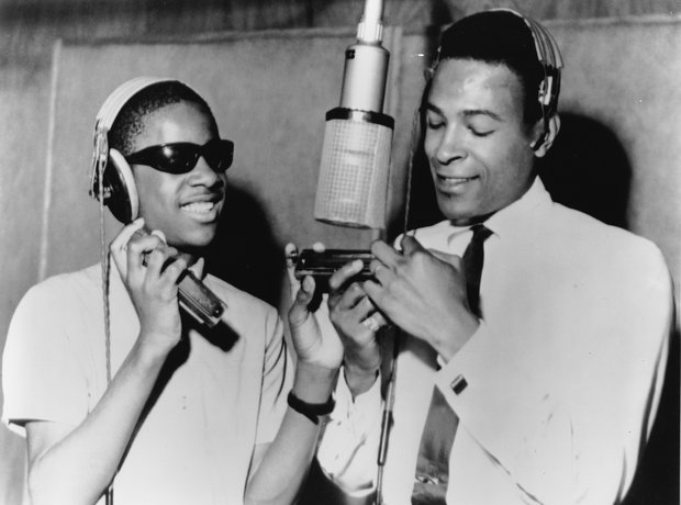 Stevie Wonder and Marvin Gaye around