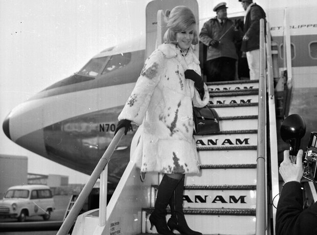 Dusty Springfield on plane