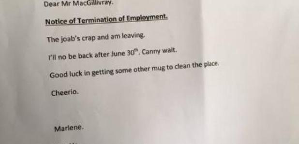 Grandmother's resignation letter
